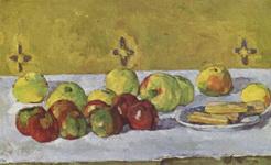 Натюрморт с яблоками и бисквитами.