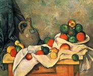 Натюрморт с драпировкой, кувшином и вазой для фруктов.