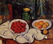 Натюрморт с вишнями и персиками.