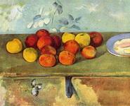 Натюрморт с яблоками и печеньем.