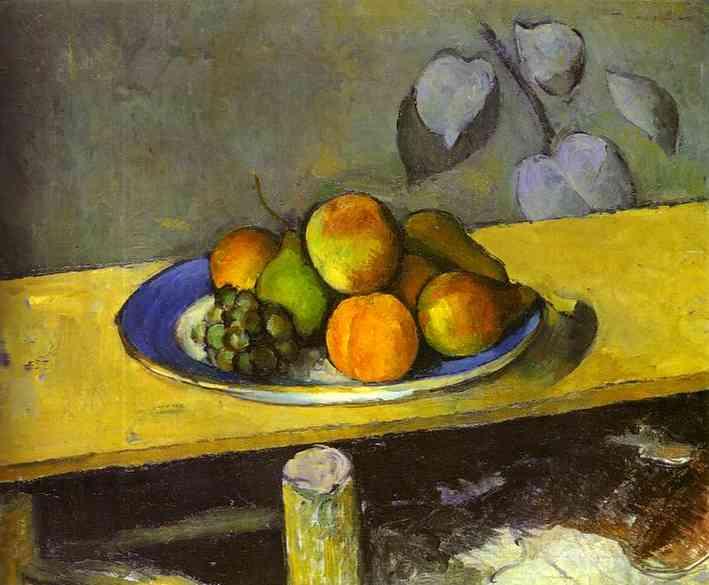 Натюрморт с яблоками, персиками, грушами и виноградом.