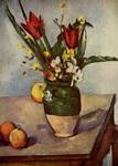 Натюрморт с тюльпанами и яблоками.