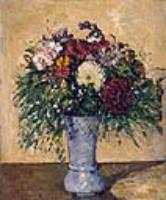 Поль Сезанн. Букет цветов в голубой вазе.