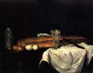 Поль Сезанн. Натюрморт с хлебом и яйцами.
