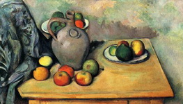 Натюрморт с кувшином и фруктами на столе.