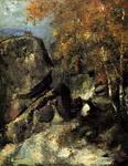 Живопись Поля Сезанна Скалы в лесу Фонтенбло.