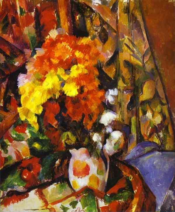 Ваза с цветами. Хризантемы.