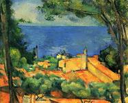 Картина Сезанна Эстак с красными крышами.