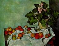 Натюрморт с кустом герани и фруктами.